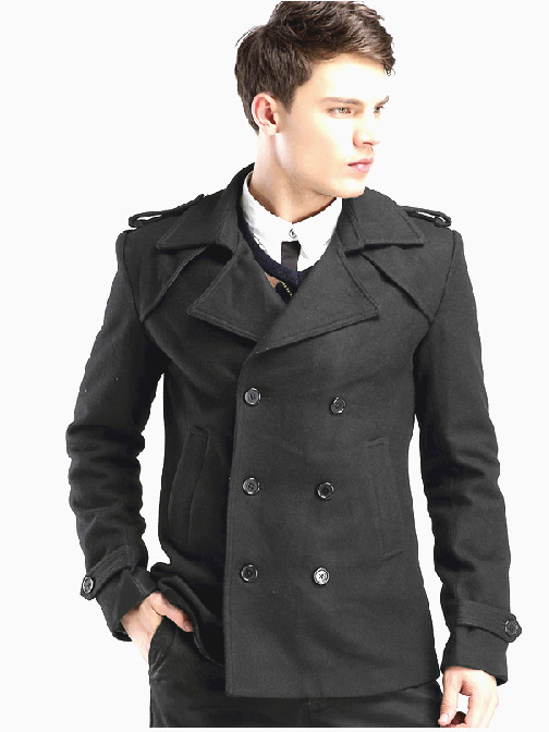 Double Breasted Black Fashion Wool Pea Coat For Men by ...