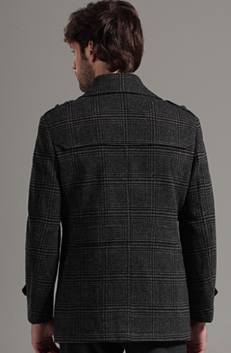 Double Breasted Plaid Wool Pea Coat