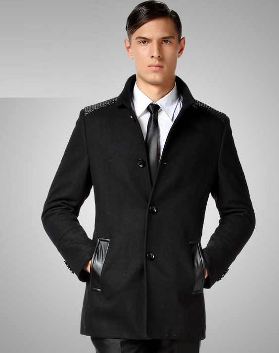 New Long Business Casual Wool Pea Coat With Leather Mesh Shoul By