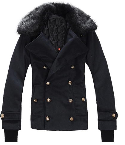 Slim Fit Black Removable Fur Collar Pea Coat by ...