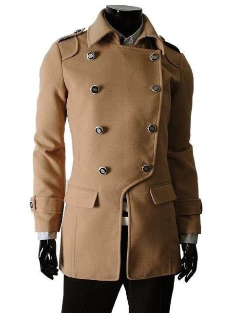 Modern Slim Fit Wool Blend Blazer Pea Coat Tan
