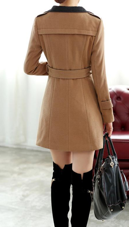 Chic Women Trendy Tan Wool Savvy Trench Pea Coat By